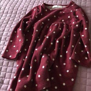 Zara red dress with white pokadots